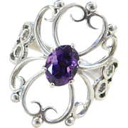 Sterling Silver Big Ornate Amethyst Ring