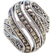 Sterling Silver Big Marcasite Ring