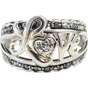 Sterling Silver Black and White Diamond Love Ring