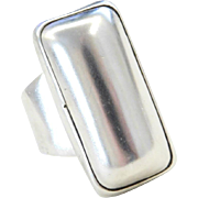 Sterling Silver Big Rectangle Ring