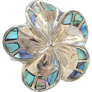 Big Sterling Silver Abalone Shell Flower Ring