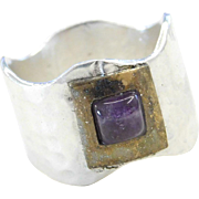 Sterling Silver and Brass Amethyst Hammered Ring