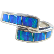 Sterling Silver Lab Created Opal Bypass Ring