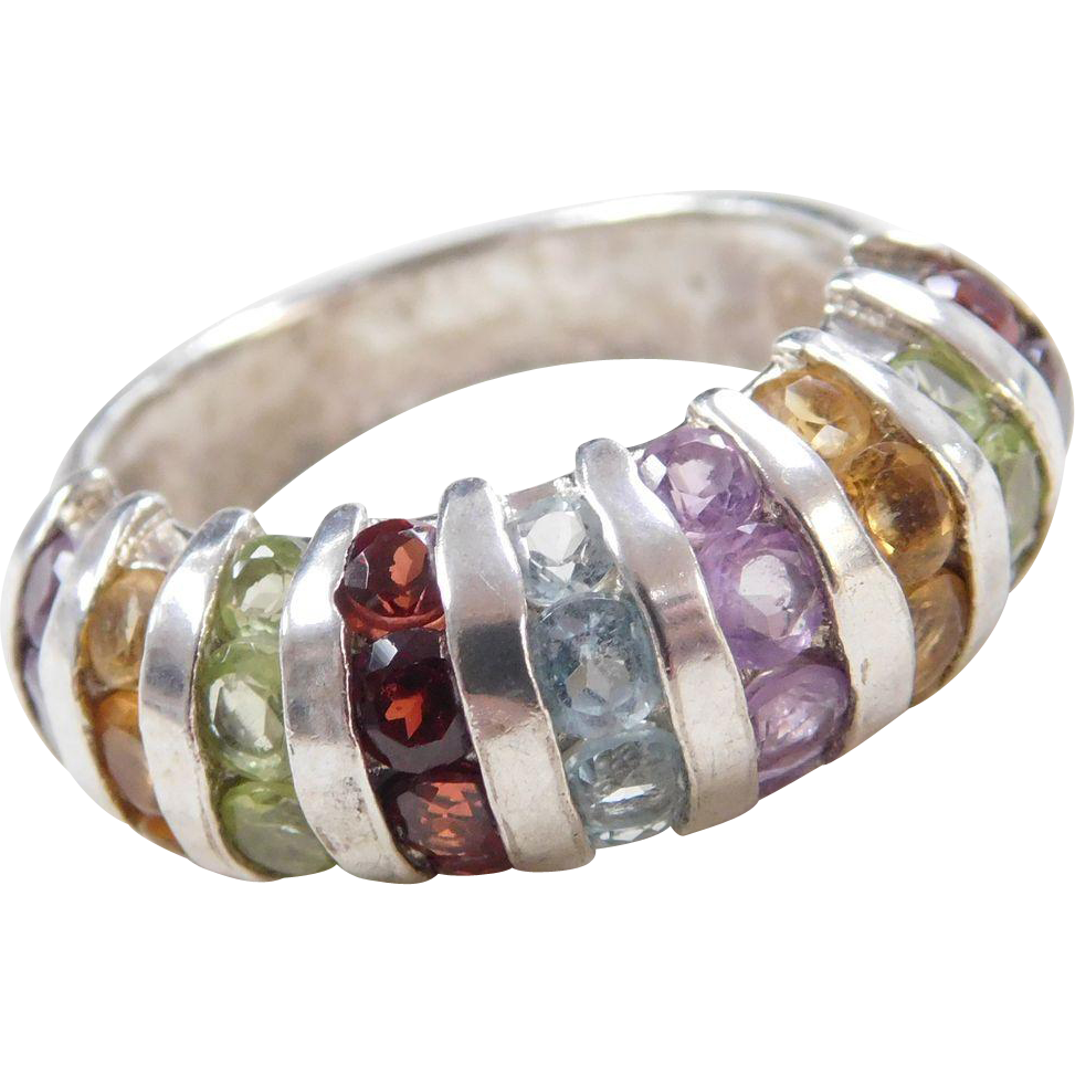 sterling silver colorful gemstone ring from arnoldjewelers