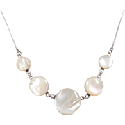 """Sterling Silver Mother of Pearl Circle Necklace ~ 18"""""""
