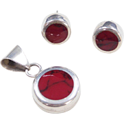 Sterling Silver Red Jasper Pendant and Stud Earrings Set