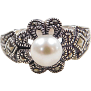 Sterling Silver Cultured Pearl and Marcasite Ring