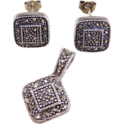 Sterling Silver Marcasite Set ~ Stud Earrings and Pendant