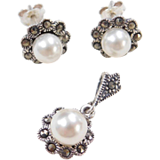 Sterling Silver Cultured Pearl and Marcasite Stud Earrings and Pendant Set
