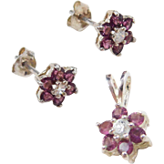 Sterling Silver Faux Amethyst and Faux Diamond Pendant and Stud Earrings Flower Set