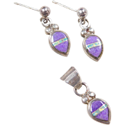 Sterling Silver Purple Sugilite and Opal Set ~ Earrings and Pendant