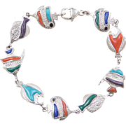 "Sterling Silver Colorful Fish Bracelet ~ 7 1/2"""