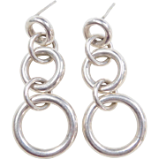 Sterling Silver Long Circle Earrings
