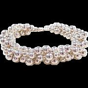 """Sterling Silver Bead Bracelet ~ 7 3/4"""""""