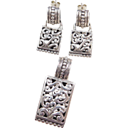 Sterling Silver Ornate Pendant and Earrings Set