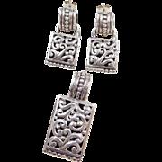 Sterling Silver Ornate Pendant and Earrings Set
