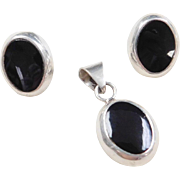 Sterling Silver Onyx Pendant and Stud Earrings Set