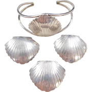 Sterling Silver Nautical Shell Set ~ Pendant, Cuff Bracelet and Big Stud Earrings