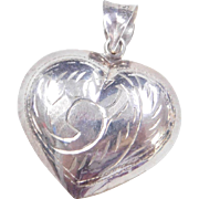 Sterling Silver Puffed Etched Heart Pendant