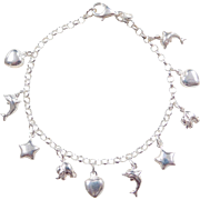"Sterling Silver Charm Bracelet  ~ Hearts, Dolphins, Stars, Elephants ~ 7"""