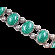 "Sterling Silver HUGE Malachite Bracelet ~ 7"""