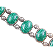 Sterling Silver HUGE Malachite Bracelet ~ 7""