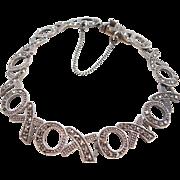 "Sterling Silver XOXO Hug & Kiss Marcasite Bracelet 7 1/2"""