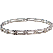 Sterling Silver Faux Diamond Bracelet ~ 7 1/2""