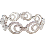Sterling Silver Faux Diamond Bracelet ~ 7 1/4""