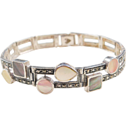 Sterling Silver Mother of Pearl and Marcasite Bracelet ~ 7 1/2""