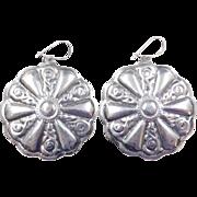Sterling Silver Large Disk Earrings