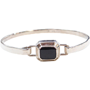 Sterling Silver Onyx Bangle Bracelet