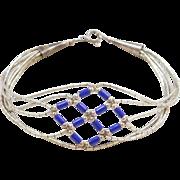 "Sterling Silver Lapis Bead Liquid Silver Bracelet ~ 7 1/4"""