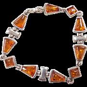 """Sterling Silver Amber Bracelet ~ 7 1/2"""""""