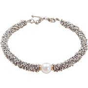 """Sterling Silver Cultured Pearl Bracelet ~ 7 1/4"""" ~ Gold Beads"""