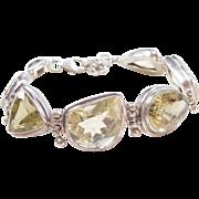 "Sterling Silver Chunky Citrine Bracelet ~ 7 1/2"" - 8 3/4"""