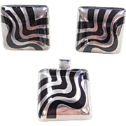 Sterling Silver Square Onyx Set ~ Pendant and Clip-On Stud Earrings