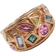 Sterling Silver Gold Plated Colorful Spinel Ring