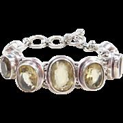 "Sterling Silver Chunky Citrine Bracelet ~ 7"" - 8"""