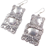 Sterling Silver Big Square Dangle Earrings with Flowers