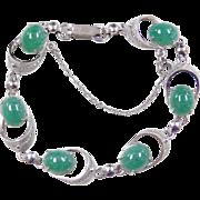 "Sterling Silver Jade Bracelet ~ 7 1/4"""