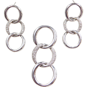 Sterling Silver Diamond Circle Pendant and Earrings Set