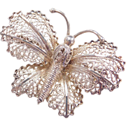 Sterling Silver Filigree Butterfly Pin / Brooch