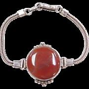"Sterling Silver Red Agate Bracelet ~ 6 3/4"" - 7 3/8"""