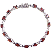 "Sterling Silver Garnet Bracelet ~ 7"""