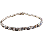 Sterling Silver Black and White Faux Diamond Tennis Bracelet ~ 7 1/4""