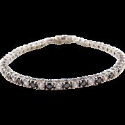 "Sterling Silver Black and White Faux Diamond Tennis Bracelet ~ 7 1/4"""