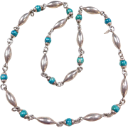 """Sterling Silver Long Turquoise Bead Necklace 28"""""""