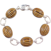 Sterling Silver Carved Tigers Eye Bracelet ~ 8""