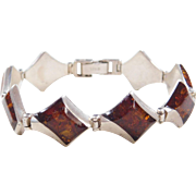 """Sterling Silver Amber Bracelet ~ 7"""""""